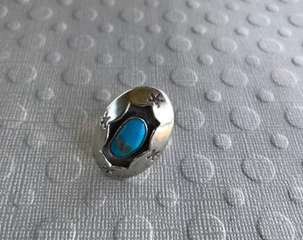 Sterling silver Size 7 ring Native American Navajo style turquoise west