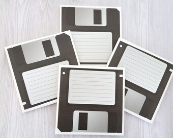 Floppy Disk Coasters Floppy Disk Tile Coasters Computer Gift for Computer Geek Fun Office Swap Gift for Nerd Computer Gift Fun Coasters