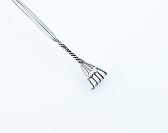Silver Fingers backscratcher, handmade with stainless steel and silver trim