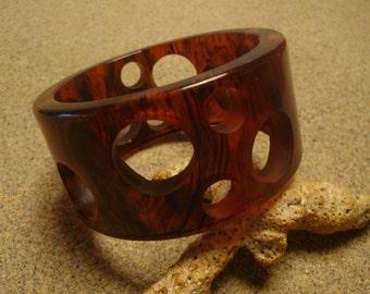 "Vintage ""Swiss Cheese"" Bakelite Bracelet; Translucent Amber/Rust Marbled Colors!"