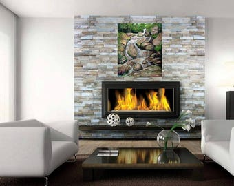 gift,WHITE NOISE,  landscape painting, mountain stream, peaceful, art and collectible, wall art,