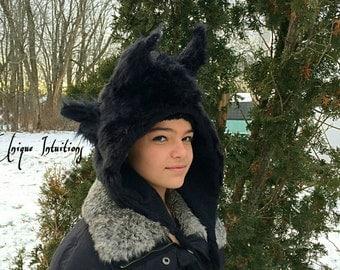Gothic Luxury Faux Fur Dragon Horns Hat Fantasy Fur Animal Ears Hood Ram,Goat,Devil,Demon Horns, Monster Rave Hood Cosplay Halloween costume