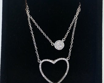 Sterling Silver Open Heart with accent circle Diamond Pendant Necklace Chain