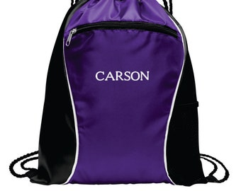 Personalized Cinch Bag, Monogrammed Book Bag, Embroidered Drawstring Bag, Custom Team Bag, Personalized Sports Bag, Gift for Him. BG613