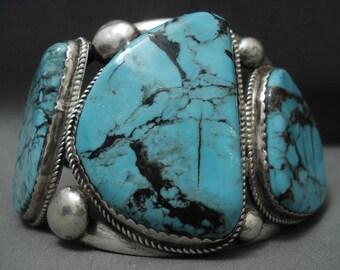 Monumental Vintage Navajo Blue Diamond Turquoise Silver Bracelet Old