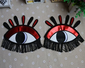 A Pair of Eye Embroidered Applique Patch,Vintage Eye Patch for Clothing or Dress,Decoration Embroidery Appliques
