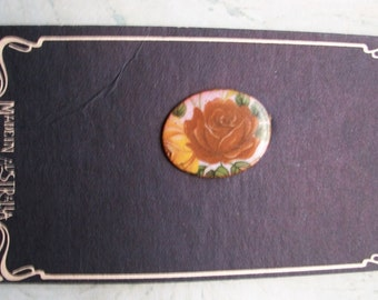 Vintage Rose Enamel Copper Brooch,Made in Australia,Dynamo House,on card,retro pin,pre-owned,small