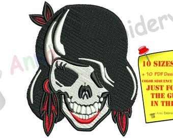 Gothic Girl Skull Embroidery Design-Machine Embroidery Patterns-Instant Download-PES