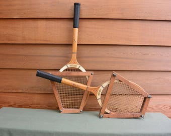 Mid-Century Wooden Tennis Rackets: CORTLAND PACEMAKER, with Straighteners