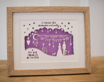 Rob Ryan inspired paper cut, personalised paper cut, song lyrics, first dance lyrics, wedding gift, anniversary gift, song lyrics print
