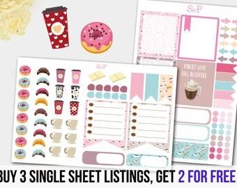 Coffee Stickers, Donut stickers, Checklist, Life Planner, Decoration Sticker Set, Kawaii Stickers, Planner Stickers, Stickers