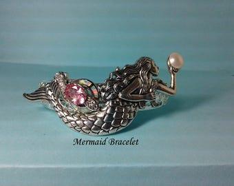 Mermaid Bracelet, Pink Topaz, Pink Fire Opal CC's , Swavorski Pearl