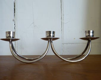 VINTAGE Danish Candelabra BERG Silver Plated Candle Holders MODERNIST