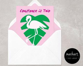 Retro Tropical Postcard Size Invite Digital Custom Printable Single side