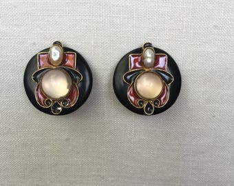 Pearl and Rose Quartz Enamel Clip Earrings