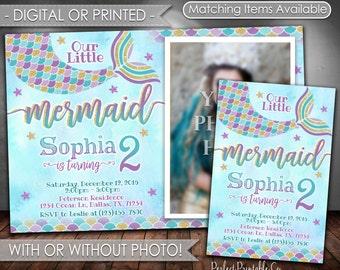 Mermaid Birthday Invitation, Mermaid Invitation, Mermaid Birthday Party Invitation, Mermaid Invite, Teal Purple Gold, Girl Mermaid Tail #597