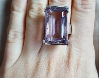 925 Sterling Silver Royal Ring Genuine Amethyst February Birthstone SIZE 8.5