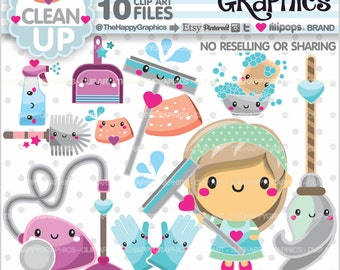 Clean Up Clipart, Clean Up Graphics, COMMERCIAL USE, Chore Clipart, Planner Accessories, Housekeeping, Organizing, Clean