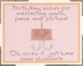 Funny Birthday Card, Birthday Cake Card, Chocolate Card, Sarcastic Card, Funny Card, Birthday Card, Chocolate Lover, Friend Birthday Card