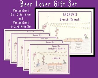 Personalized Gifts For Men, Beer Gift, Mens Stationery, Gift Sets, Personalized Stationery Set, Beer Lover, Gift For Men, Personalized Gifts