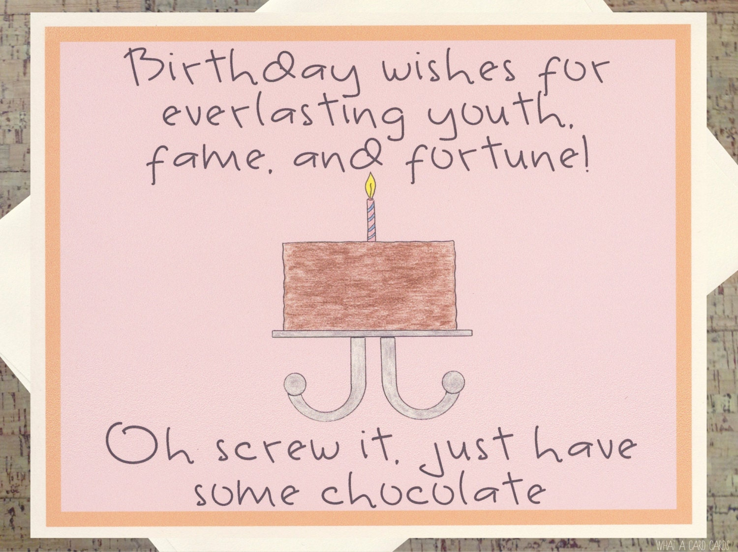 Funny Birthday Card Birthday Cake Card Chocolate Card – Friend Birthday Card Messages