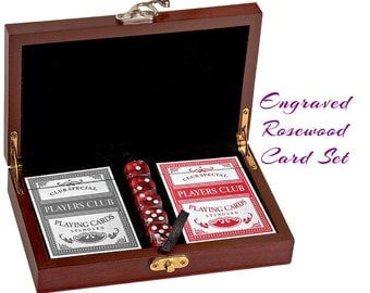 Personalized Card Set, Custom Card Set, Card Gift Set, Cards and Dice, Groomsman Gift, Father's Day Gift, Card Set, Engraved Rosewood Set