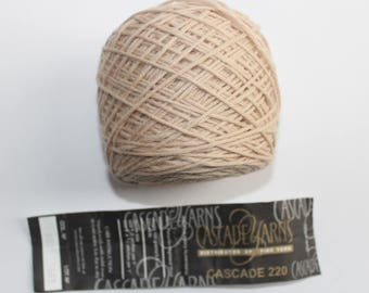 Cascade 220 100% Peruvian Highland Wool Yarn Cake, Beige 8021, Hank Wound into a Cake at Yarn Shop, 220 yds each, 18 skeins /cakes available