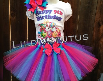 Handmade Shopkins Tutu Set / Shopkins birthday outfit / Shopkins birthday shirt / Shopkins tutu skirt