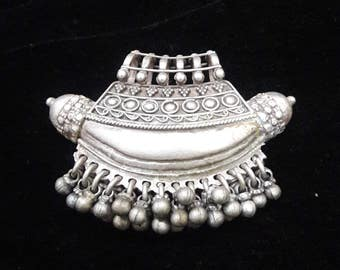 Designer Oxidized Silver Pendant -Ethnic Silver Boho Jewelry -Handmade 925 Sterling Silver Pendant -Banjara Pendant Vintage Pendant -RLP38