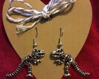 Silver Dinosaur Skeleton Earrings. Fossil Earrings. Dino Jewellery. Silver Plated. Dinosaur Earrings. T Rex. Fun Unusual Quirky Jewellery.