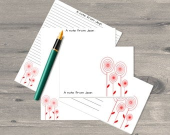 Ranunculus personalised letter writing set, letter writing paper set, letter writing stationary, letter writing paper, correspondence cards