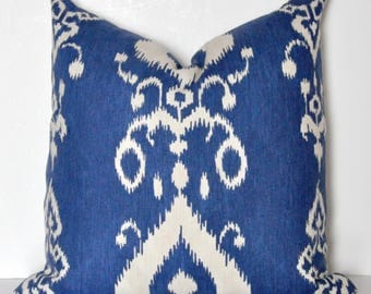 IKAT PILLOW COVER // Blue Ikat Pillow, Ikat Pillow, Blue pillow, Ikat pillow, Cushion cover, Cobalt Blue