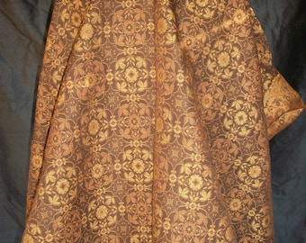 Geometric Gold Brown Cotton Brocade Fabric 2 pieces