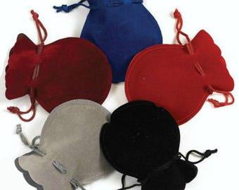 """Round Velveteen Pouches Velour Velvet Bags Favor Gift Bags Pack of 12 - 3""""x3.5"""""""