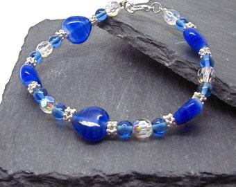 Blue hearts and crystal bracelet