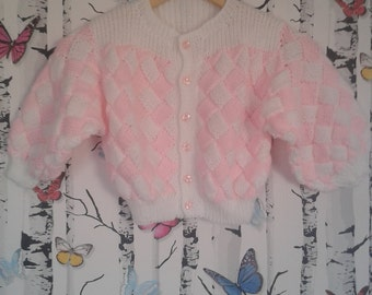 Knitted Cardigan, 3 - 4 Year Old, Hand Knitted Cardigan, Handmade, Childs Cardigan, Girls Cardigan, Pink And White Knitted Cardigan