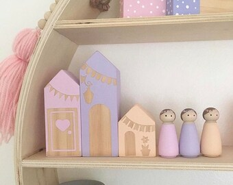 Happy Homes! Set of 3 Wooden Block Houses or Peg Doll Village