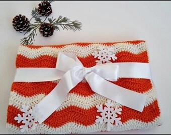 Soft baby blanket Crochet Baby blanket bedding White Orange Car seat blanket Handmade baby gift Baby blanket Stroller Ready to ship