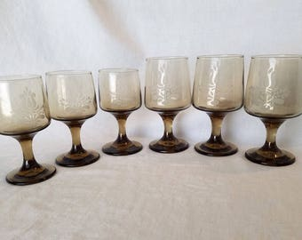 PFALTZGRAFF WINE GOBLET Smoke Colored Crystal Village Stem Sherbet Brown Etched Glasses 1970s Vintage Retro