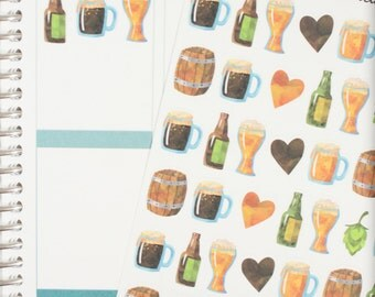 Watercolor Beer Planner Stickers (NF310) High Gloss, Semi-Gloss, Matte Planner Stickers