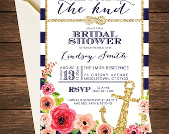Nautical Bridal Shower Invitation, She's Tying the Knot, Tying the Knot, Bridal Shower Invitation,Nautical Bridal Shower,Nautical Invitation