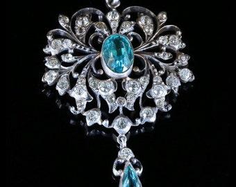 Edwardian Paste Blue Zircon Silver Pendant Necklace Circa 1914