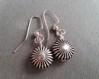 Silver Starbursts . Earrings.