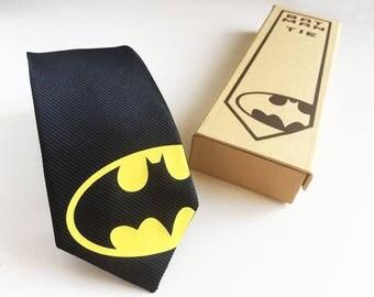 Batman Silk Tie - Slim Tie - Wedding Tie, Christmas Gift, Fathers Day Gift, Birthday Gift- FREE UK Shipping!