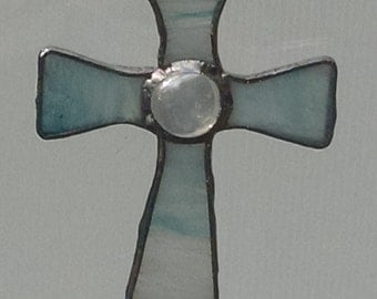 Stained Glass Cross  ( Blue & White )