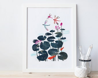 dragonflies and lilypads