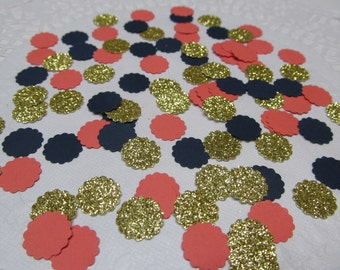 300 Scallop Circle Confetti - Gold Glitter, Navy & Coral Cardstock - Bridal - Party Decor - Wedding Scatter - Nautical - Bachelorette Party