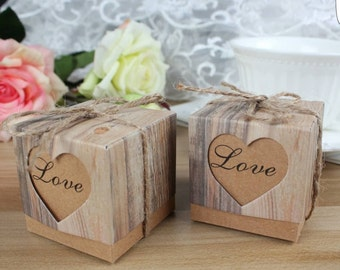 Wedding Favors Candy Box Rustic Wedding Vintage Wedding Favor Gift Boxes 50pcs.