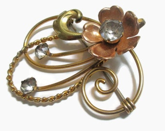 Van Dell  Brooch, Vintage Rhinestone Flower Pin,  Gold & Copper Tone , Mid Century Jewelry, 1940s -1950s, Prong Set,  Gold Filled