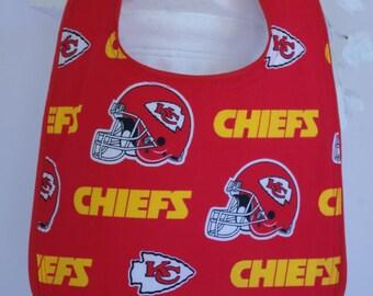 Bib terry cloth snap closure NFL Kansas City Chiefs football